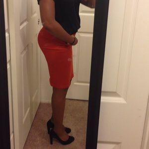 Orange Rust Bodycon Skirt